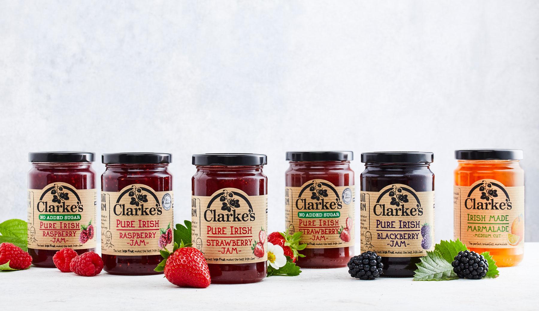 Clarke's Fresh Fruit Jams Range Produce